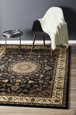 Medallion Rug Navy with Ivory Border - Floorsome