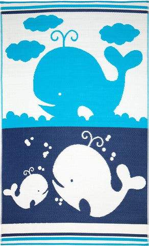 Little Portico's Sea Blue Family Blue and White Kids Mat