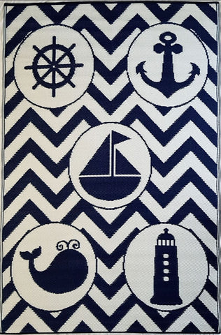 Little Portico's Sea Blue Objects Navy and White Kids Mat
