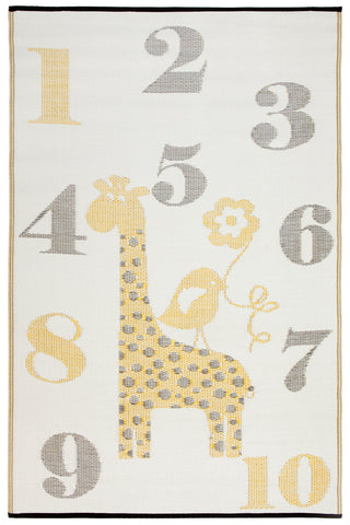 Sunny Giraffe Yellow and Grey Kids Mat