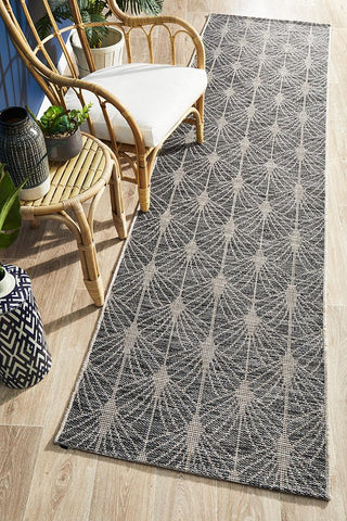 Courtyard 5502 Black Indoor Outdoor Runner Rug - Floorsome