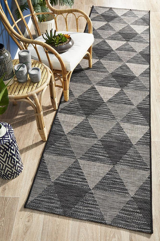 Courtyard 5503 Black Indoor Outdoor Runner Rug - Floorsome