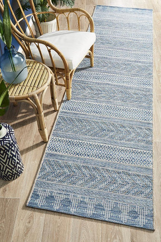 Courtyard 5505 Blue Indoor Outdoor Runner Rug