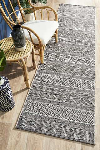 Courtyard 5505 Grey Indoor Outdoor Runner Rug - Floorsome