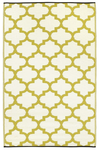 Outdoor Rug Recycled Plastic - Tangier Celery and White - Floorsome