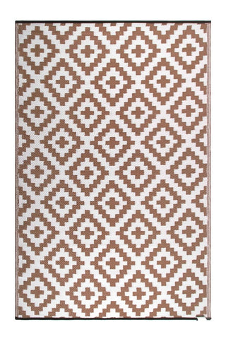 Outdoor Rug Recycled Plastic  - Aztec Beige And White