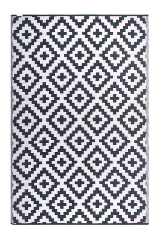 Outdoor Rug Recycled Plastic  - Aztec Grey and White
