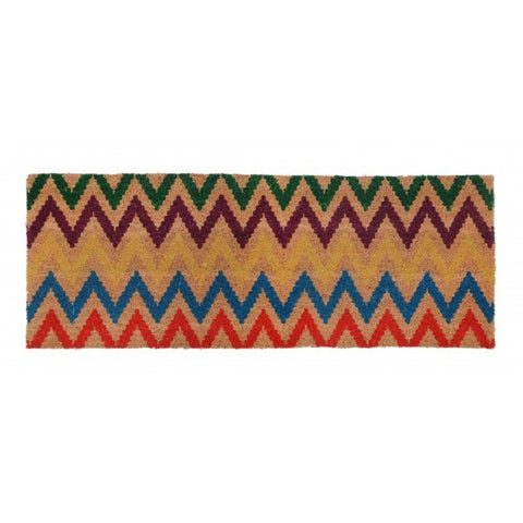 PVC Backed Coir Door Mat - Chevron Multicolour 120x45cm - Floorsome