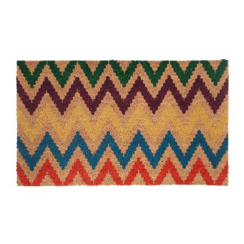 PVC Backed Coir Door Mat - Chevron Multicolour 75x45cm - Floorsome