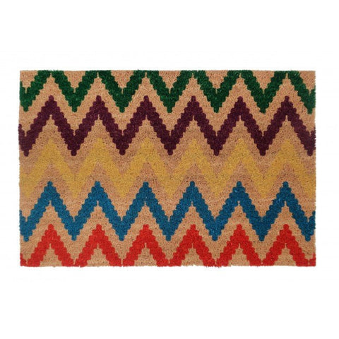 PVC Backed Coir Door Mat - Chevron Multicolour 90x60cm - Floorsome