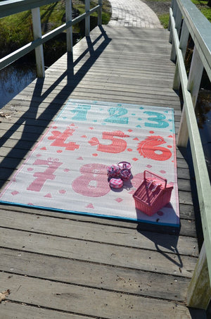 Little Portico's Numbers Blue, Red and Pink Kids Mat