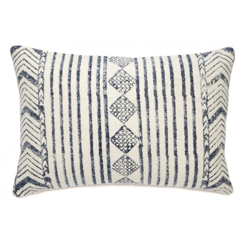 Estella White and Blue Indoor Cushion