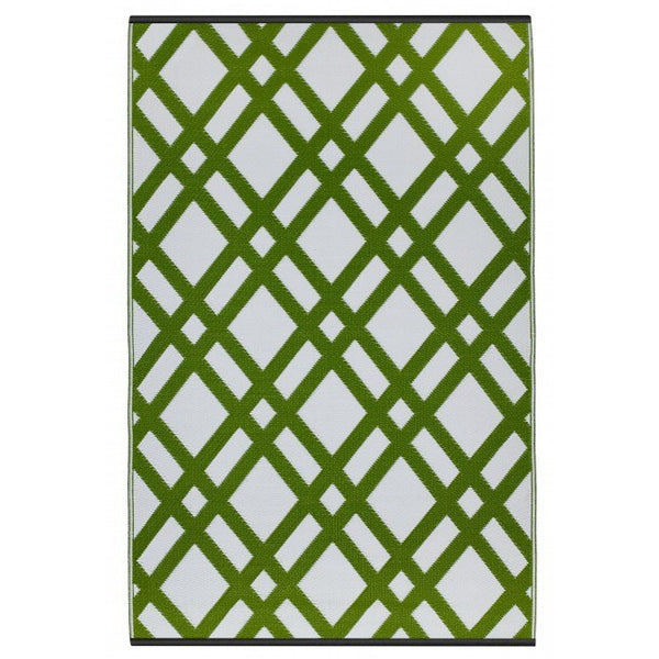 Outdoor Rug Recycled Plastic Dublin Green And White
