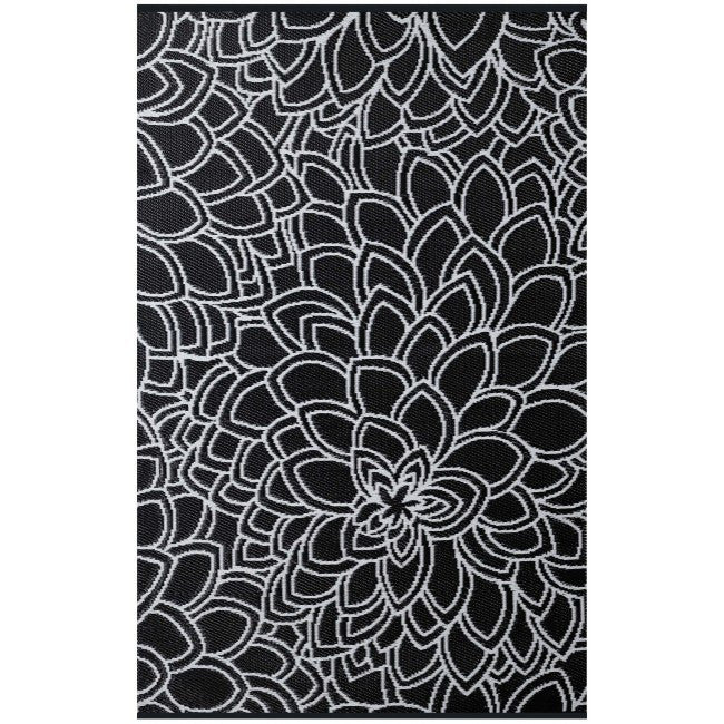 Outdoor Rug Recycled Plastic Eden Black And White Floorsome