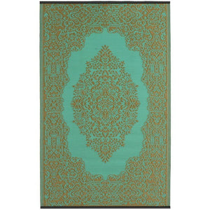 Recycled plastic outdoor rug Istanbul Aqua and Bronze