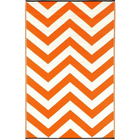 Recycled plastic outdoor rug Laguna Orange