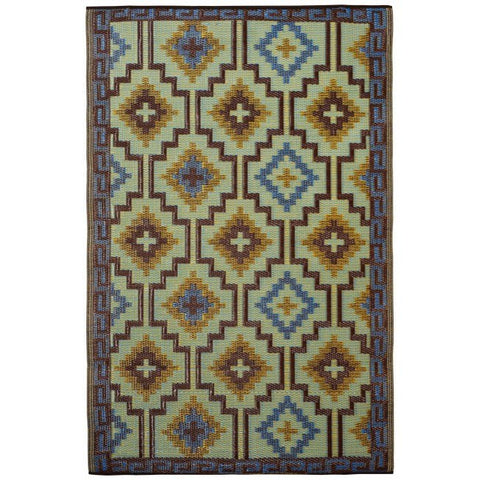 Outdoor Rug Recycled Plastic  - Lhasa Royal Blue and Chocolate