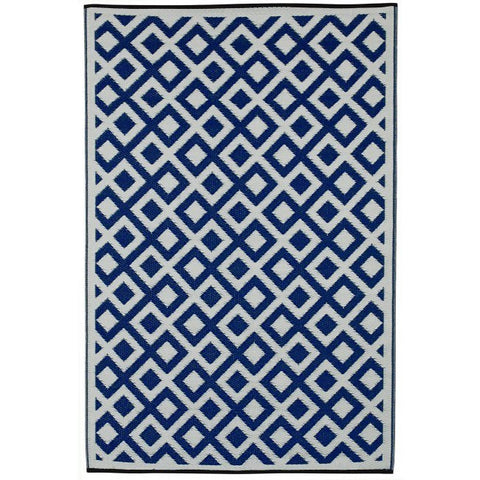 Outdoor Rug Recycled Plastic - Marina Indigo Blue & white