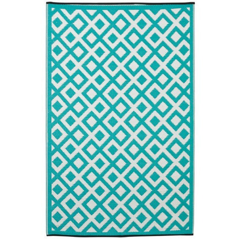 Outdoor Rug Recycled Plastic - Marina Sea Green & White