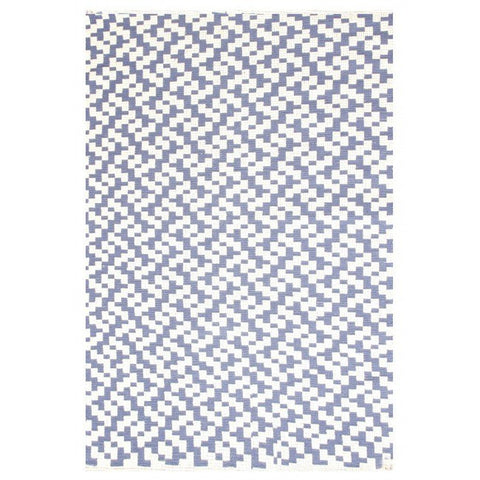 Indoor Recycled Cotton Rug - Mudra Indigo and Natural - Floorsome