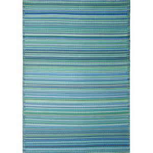 Aqua recycled outdoor rug