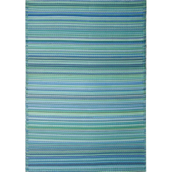 Round Outdoor Plastic Rugs: Recycled Plastic Outdoor Rug- Cancun Aqua