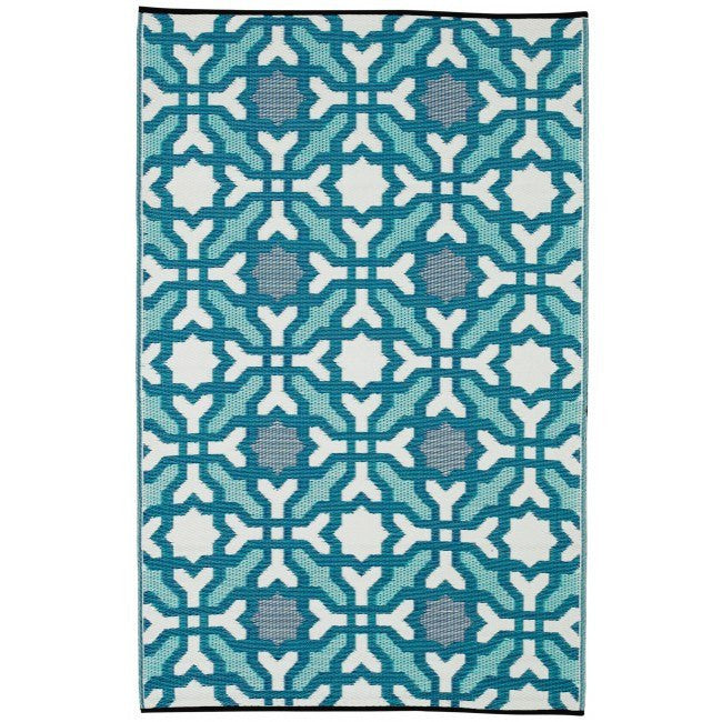 Outdoor Rug Recycled Plastic Seville Blue Floorsome