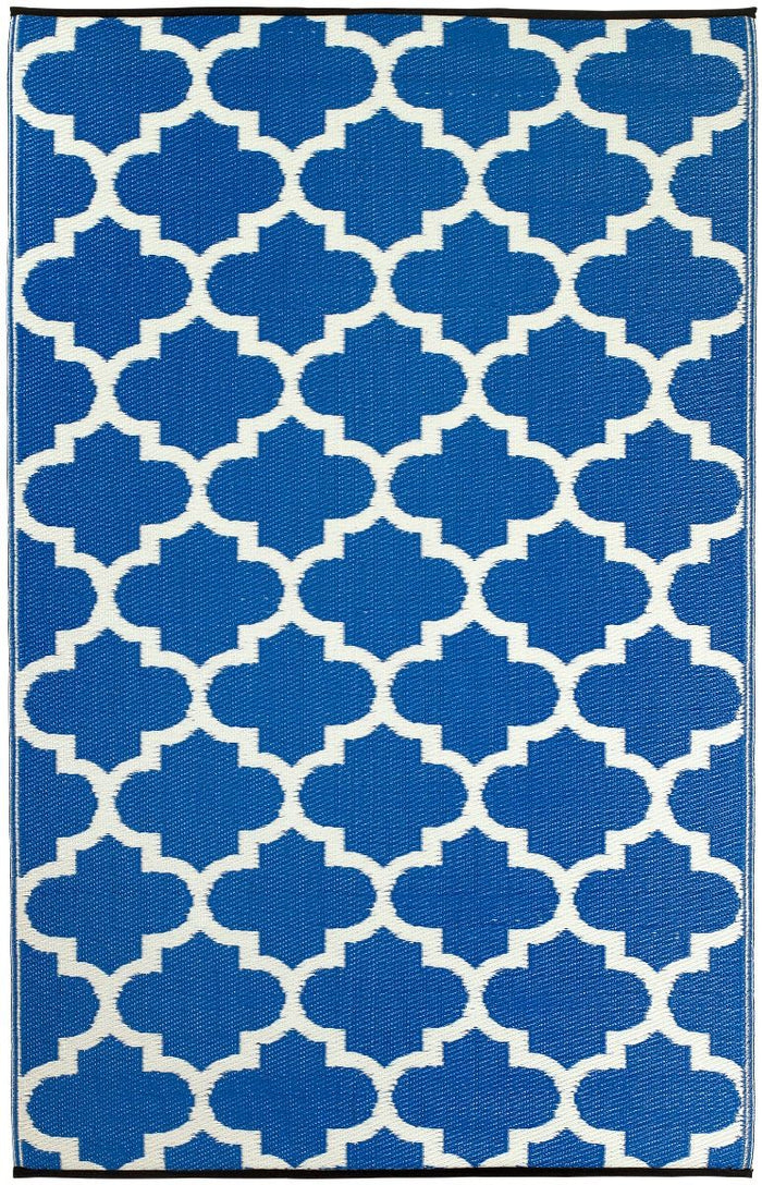 Outdoor Rug Recycled Plastic - Tangier Regatta Blue And White