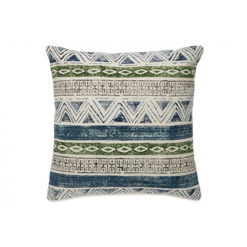 Larissa Blue White and Green Indoor Cushion