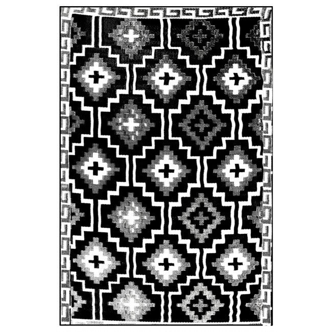 Outdoor Rug Recycled Plastic  - Lhasa Black and Cream