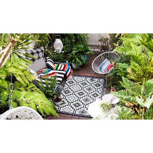 Recycled plastic outdoor rug Lhasa Black and white