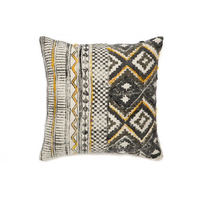 Nigella White and Black and Yellow Indoor Cushion