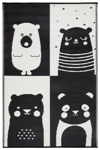 Nika Bear Black & White Kids Mat