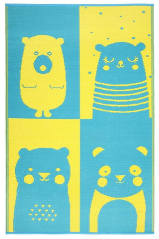 Nika Bear Blue & Yellow Kids Mat