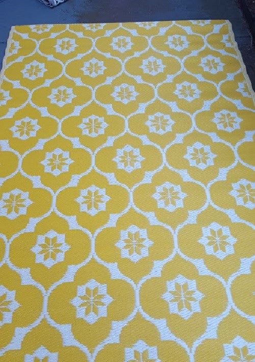 Recycled Plastic Outdoor Rug Yellow   Floorsome ...