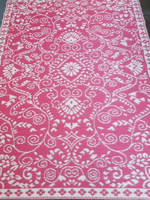Recycled Plastic Outdoor Rug Pink - Floorsome