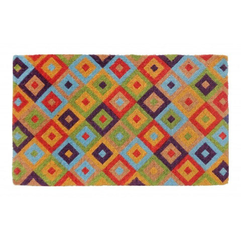 100% Coir Door Mat - Saman Multicolour 75x45cm - Floorsome