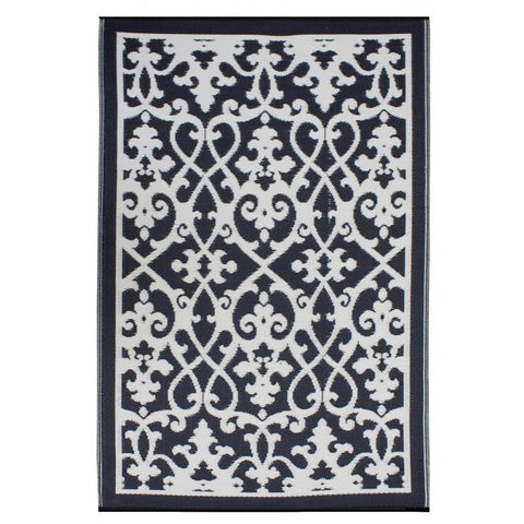 Outdoor Rug Recycled Plastic  - Venice Black - Floorsome