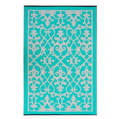 Outdoor Rug Recycled Plastic  - Venice Turquoise and Cream