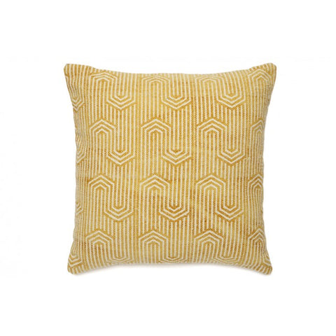 Viola White and Yellow Indoor Cushion