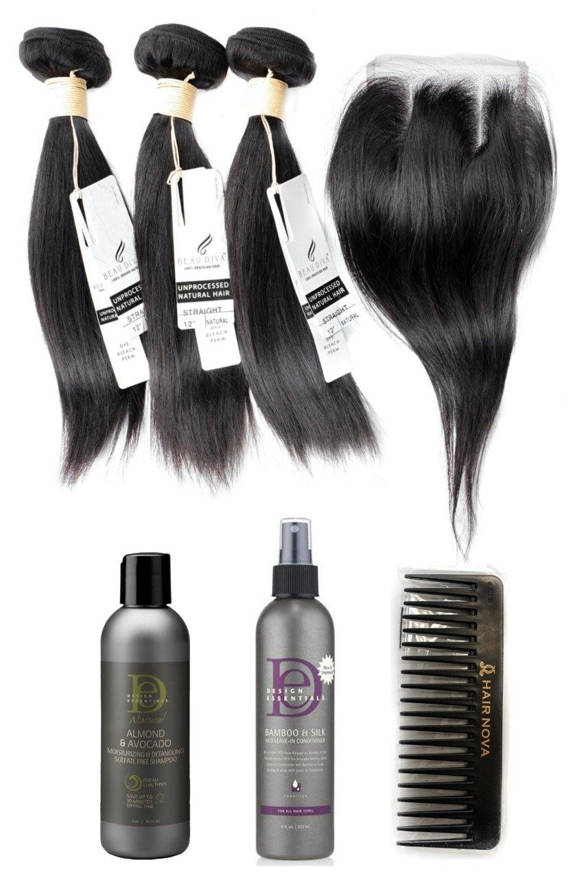 "stylediva-dev - 12"" Brazilian 9A Bundles X 3 & 8"" Closure & Aftercare Combo - Kits - KITS"