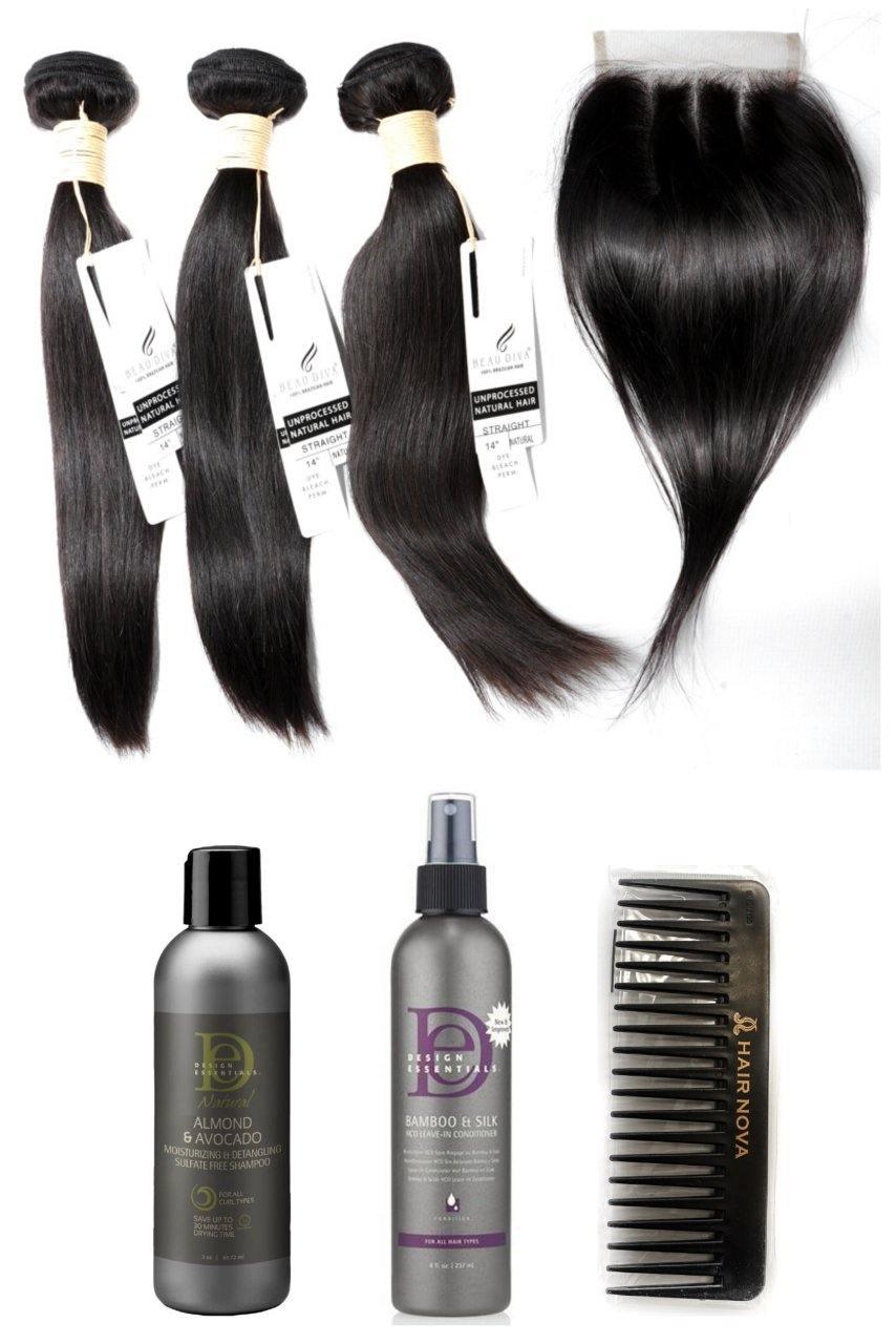 "stylediva-dev - 14"" Brazilian 9A Bundles X 3 & 10"" Closure & Aftercare Combo - Kits - KITS"