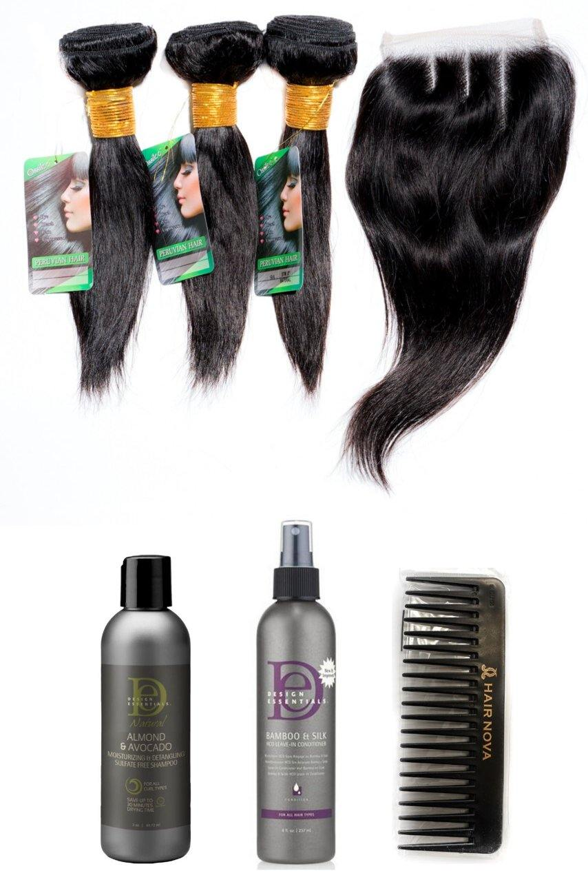 "stylediva-dev - 8"" Peruvian 9A Bundles X 3 & 8"" Closure & Aftercare Combo - Kits - KITS"