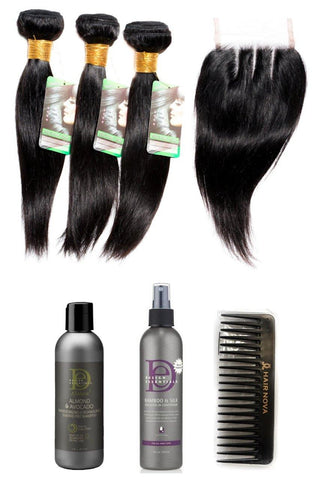 "10"" Indian 9A Bundles x 3 & 8"" Closure & Aftercare Combo"