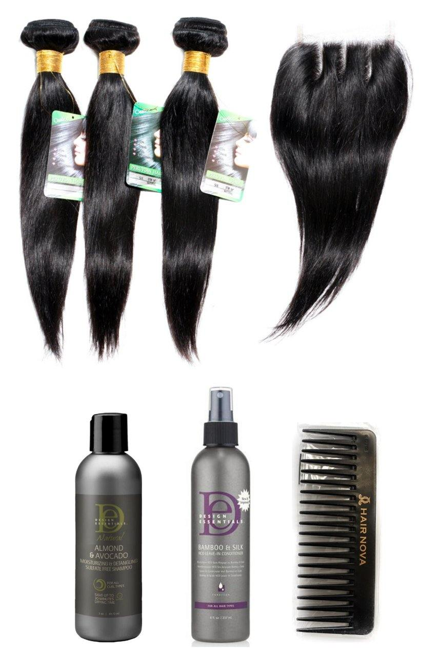 "stylediva-dev - 18"" 9A Peruvian Bundles X 3 & 12"" Closure & Aftercare Combo - Kits - KITS"