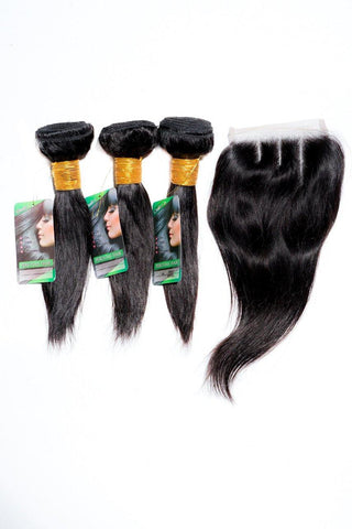 "22"" 8A Brazilian Bundles x 3 & 14"" Closure Combo"