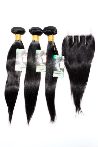 "8"" Indian 9A Bundles x 3 & 8"" Closure & Aftercare Combo"