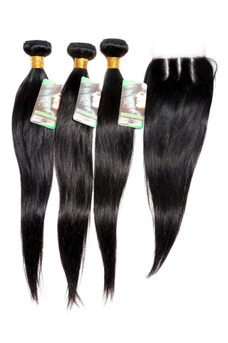 "20"" Indian 9A Bundles x 3 & 14"" Closure & Aftercare Combo"