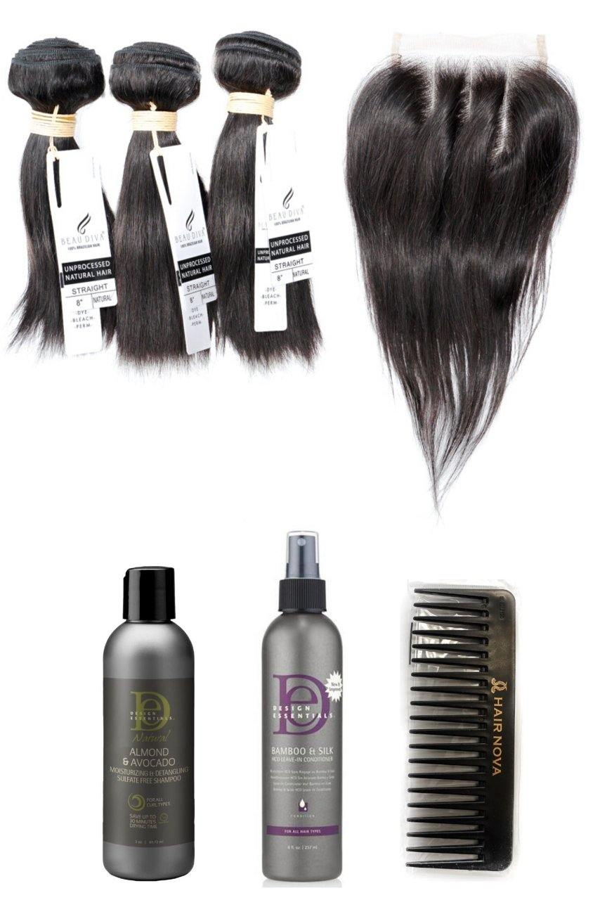 "stylediva-dev - 8"" Brazilian 9A Bundles X 3 & 8"" Closure & Aftercare Combo - Kits - KITS"