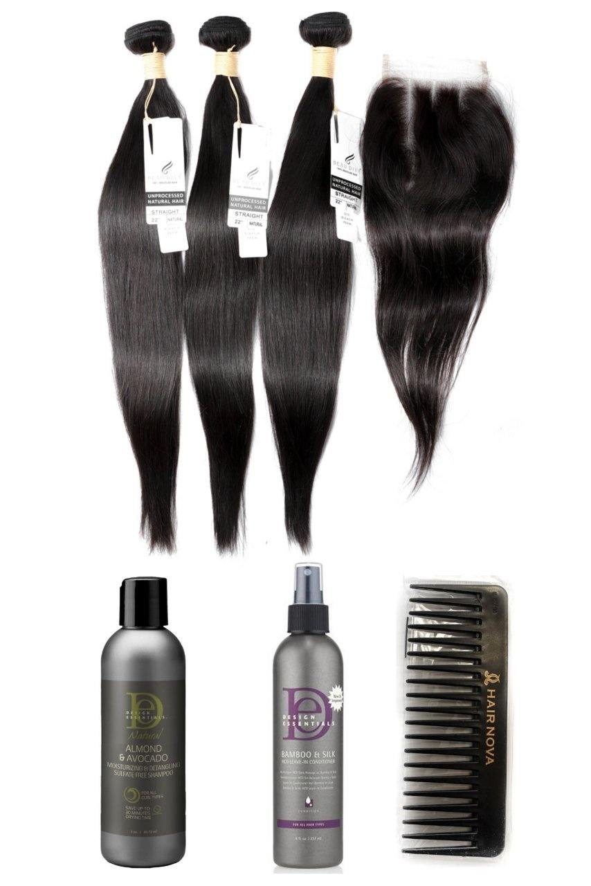 "stylediva-dev - 22"" Brazilian 9A Bundles X 3 & 14"" Closure & Aftercare Combo - Kits - KITS"